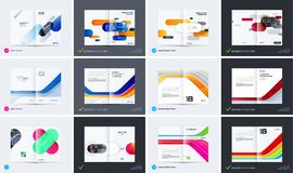 Abstract brochure design, modern catalog, centerfold cover, flyer in A4 with colourful smooth shapes. For development, branding. Business vector presentation royalty free illustration
