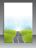 Abstract brochure design with road background Stock Images