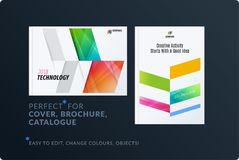 Abstract brochure design set, modern annual report, horizontal cover, flyer in A4 with colourful arrows. Diagonal shape for ecology, branding. Business vector stock illustration