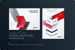 Abstract brochure design set, modern annual report, horizontal cover, flyer in A4 with colourful arrows. Diagonal shape for ecology, branding. Business vector royalty free illustration