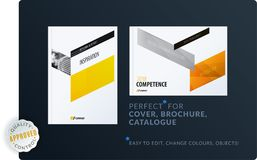 Abstract brochure design set, modern annual report, horizontal cover, flyer in A4 with colourful arrows. Abstract brochure design set, modern annual report stock illustration