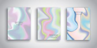Abstract brochure designs with holographic effect. Brochure templates with abstract holographic designs Royalty Free Stock Photos