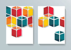 Abstract Brochure Flyer cubes design Stock Photo