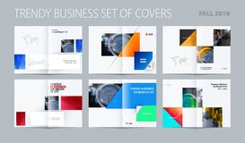 Abstract double-page brochure design rectangular style with colourful rectangles for branding. Business vector royalty free illustration