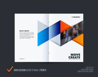 Abstract double-page brochure design hexagon style with blue orange colourful triangles for branding. Business vector vector illustration