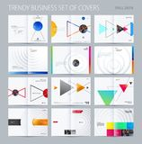 Abstract double-page brochure design style with colourful triangles for branding. Business vector presentation broadside vector illustration
