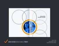 Abstract double-page brochure design round style with colourful circles for branding. Business vector partnership. Abstract brochure in round smooth design style Royalty Free Stock Photos