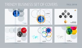 Abstract double-page brochure design round style with colourful circles for branding. Business vector partnership Stock Image