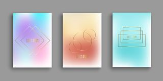Abstract brochure templates with gradient designs. And gold geometric shapes stock illustration