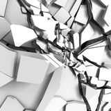 Abstract broken cracked white wall background. 3d render illustration Stock Photos