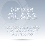 Abstract Broken Glass Font and Numbers, Eps 10 Vec. Set of Abstract Broken Glass Font and Numbers, Eps 10 Vector, Editable for any background Royalty Free Stock Photography