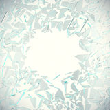 Abstract broken glass into pieces isolated on white background with place for text. 3d illustration. Abstract broken glass into pieces isolated on white Royalty Free Stock Photo