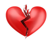 Abstract broken heart. On white background. 3d illustration Stock Photo