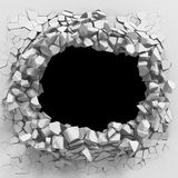 Abstract broken wall cracked white background. 3d render illustration Royalty Free Stock Image