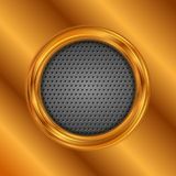 Abstract bronze circle on perforated metallic texture. Abstract bright bronze circle on dark perforated metallic texture. Vector background Stock Illustration