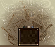 Abstract brown background with musical instruments Royalty Free Stock Photos