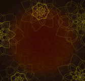 Abstract brown background with tribal floral mandalas Stock Photography