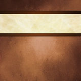 Abstract brown background with white ribbon and dark brown border trim Stock Images