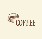 abstract brown color coffee cup logo, morning drink logotype,cafe symbol vector illustration Royalty Free Stock Image