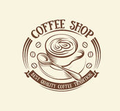 abstract brown color coffee cup logo, morning drink logotype,cafe symbol vector illustration Stock Photography