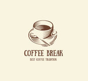 abstract brown color coffee cup logo, morning drink logotype,cafe symbol vector illustration Stock Image