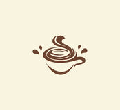 abstract brown color coffee cup logo, morning drink logotype,cafe symbol vector illustration Stock Images