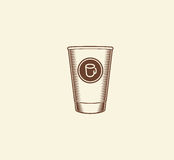 abstract brown color paper coffee cup logo, morning drink logotype,cafe symbol vector illustration Royalty Free Stock Photos