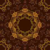 Abstract brown floral background with round vector pattern Stock Photos