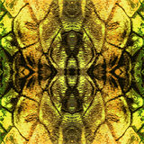 Abstract brown, gold, green and black pattern with big reptile scales Stock Photos