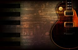 Abstract grunge piano background with classic electric guitar. Abstract brown grunge music background with classic electric guitar vector illustration Stock Photos
