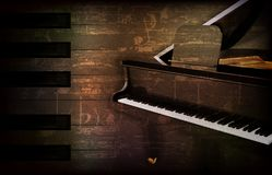 Abstract grunge piano background with grand piano Stock Photos
