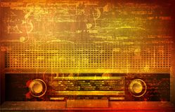 Abstract grunge background with retro radio Stock Images