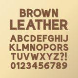 Abstract Brown Leather Font and Numbers. Eps 10 Vector Stock Image