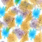 Abstract Brown, lilac, dark blue isolated watercolor stain raste. R illustration Royalty Free Stock Photos