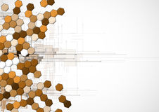 Abstract brown point hexagon business and technology background Stock Image