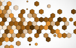 Abstract brown point hexagon business and technology background Royalty Free Stock Photography