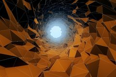 Abstract brown polygonal cave. Background. 3D Rendering Stock Image