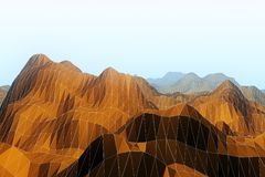 Abstract brown polygonal landscape. Background. 3D Rendering royalty free illustration