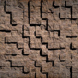Abstract brown stony cubes Royalty Free Stock Photos