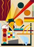 Abstract brown yellow background ,inspired by the painter kandinsky. Colorful composition , fancy geometric shapes , circles , triangles on yellow background royalty free illustration