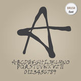 Abstract Brush Alphabet and Digit Vector Royalty Free Stock Images