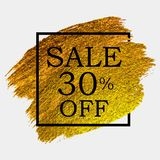 Abstract Brush Stroke Designs Final Sale Banner in Black, Gold and White Texture with Frame. Vector Illustration. EPS10 Royalty Free Stock Images