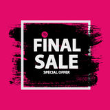 Abstract Brush Stroke Designs Final Sale Banner in Black, Pink. And White Texture with Frame. Vector Illustration EPS10 Stock Photos