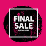 Abstract Brush Stroke Designs Final Sale Banner in Black, Pink. And White Texture with Frame. Vector Illustration EPS10 Royalty Free Stock Photography