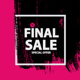 Abstract Brush Stroke Designs Final Sale Banner in Black, Pink. And White Texture with Frame. Vector Illustration EPS10 Royalty Free Stock Images