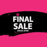Abstract Brush Stroke Designs Final Sale Banner in Black, Pink a. Nd White Texture with Frame. Vector Illustration EPS10 Stock Images