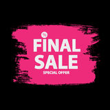 Abstract Brush Stroke Designs Final Sale Banner in Black, Pink a. Nd White Texture with Frame. Vector Illustration EPS10 Royalty Free Stock Photo