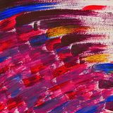 Abstract brush strokes. Close-up fragment of hand painted acrylic multicolor painting on paper, dark shades, grunge royalty free stock photography