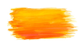Abstract brush strokes, orange watercolor Royalty Free Stock Image