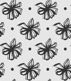 Abstract brushed flower pattern vector. Grey and black inked Stock Photos